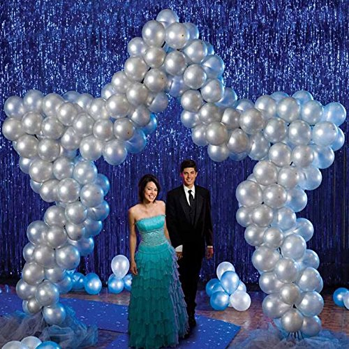 Laz-Tipa - 245x92cm Foil Party Door Curtain Tinsel Shimmer Birthday Wedding Decorations Wedding Background Party Photo Booth Props IC602693