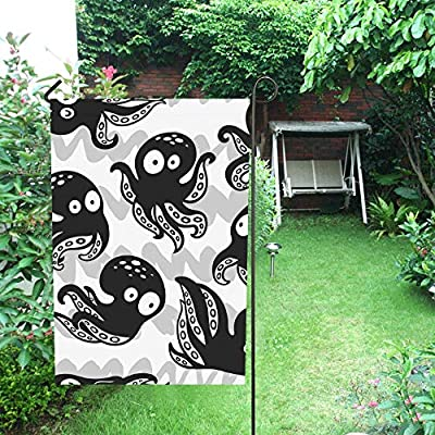 JOCHUAN Decoración para el hogar Pulpos de Dibujos Animados Monocromo Jardín Flaghouse Yarda Flaggarden Yarda Decoración Decoraciones de Temporada Bandera al Aire Libre de 12X18 Pulgadas: Amazon.es: Jardín
