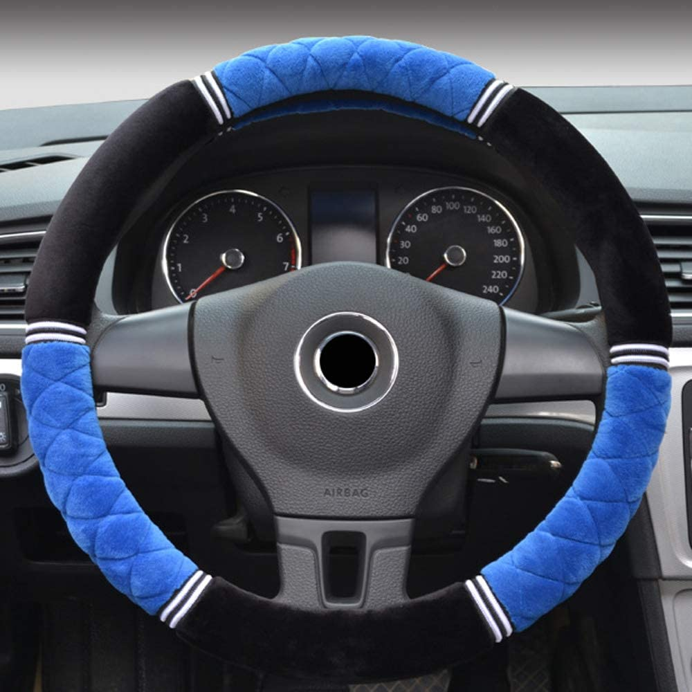 Soft Faux Wool Leather Anti Slip Winter Cover Protection for Auto SUV Vehicles Truck Lorry Van,Black BauZeit Universal Plush Car Steering Wheel Covers for Women /& Girl 15 inch//37-38cm Protector