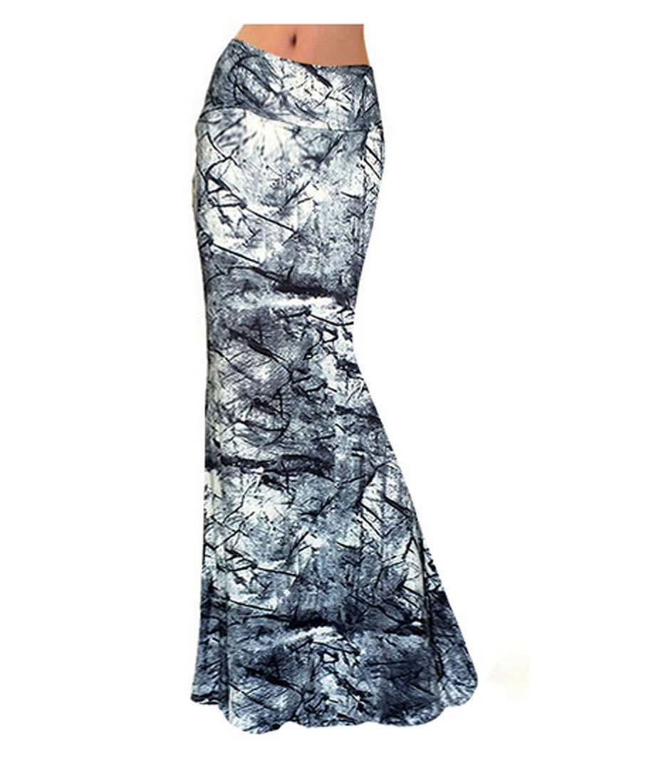 Aisa Womens Multicolored Printed High Waist Maxi Skirt New Fold Over Beach Long Skirt Dress Size Large by Aisa (Image #2)