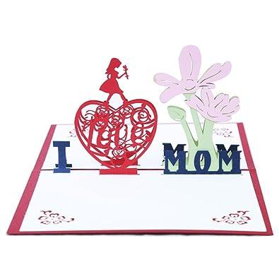 Aruie tarjeta de felicitación 3d corazón ajouré I Love Mom ...
