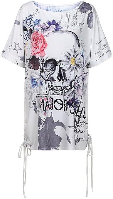 Blusa Calavera Impresa Mujeres Camiseta Manga Corta Camisa Suelto Tops Casual: Amazon.es: Ropa y accesorios
