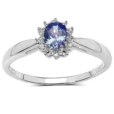 Sammlung Tansanit Ring Verlobungsring Weissgold 9ct Kleine Oval
