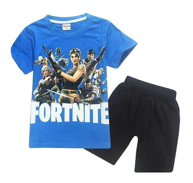 Fortnite Verano Niños 2 Piezas Conjuntos Flojo Moda Cortocircuitos Hot Pants Corto Pantalón + Cuello Redondo