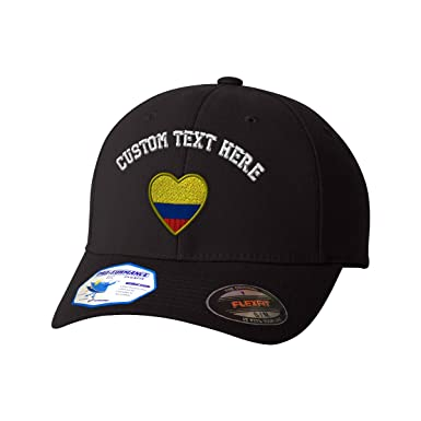 34f0be346c9 Amazon.com  Custom Text Embroidered Heart Colombia Flag Flexfit Hat  Baseball Cap Black  Clothing