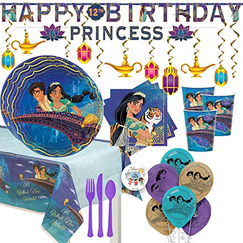 Aladdin and Princess Jasmine Birthday Party Supplies and Decorations Pack For 16 With Plates, Cups, Napkins, Tablecover, Balloons, Banner, Latern Swirls, Cutlery, and Exclusive Pin by Another -