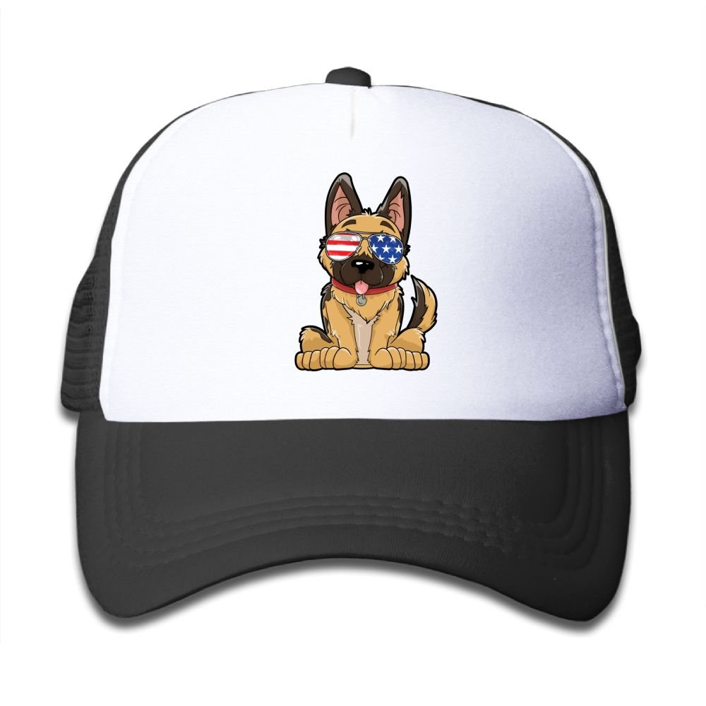 Mesh Baseball Hat Girl National Flag Glasses Dog Casual Adjustable
