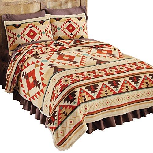 southwest aztec fleece native american lightweight coverlet orange fullqueen - Southwest Bedding