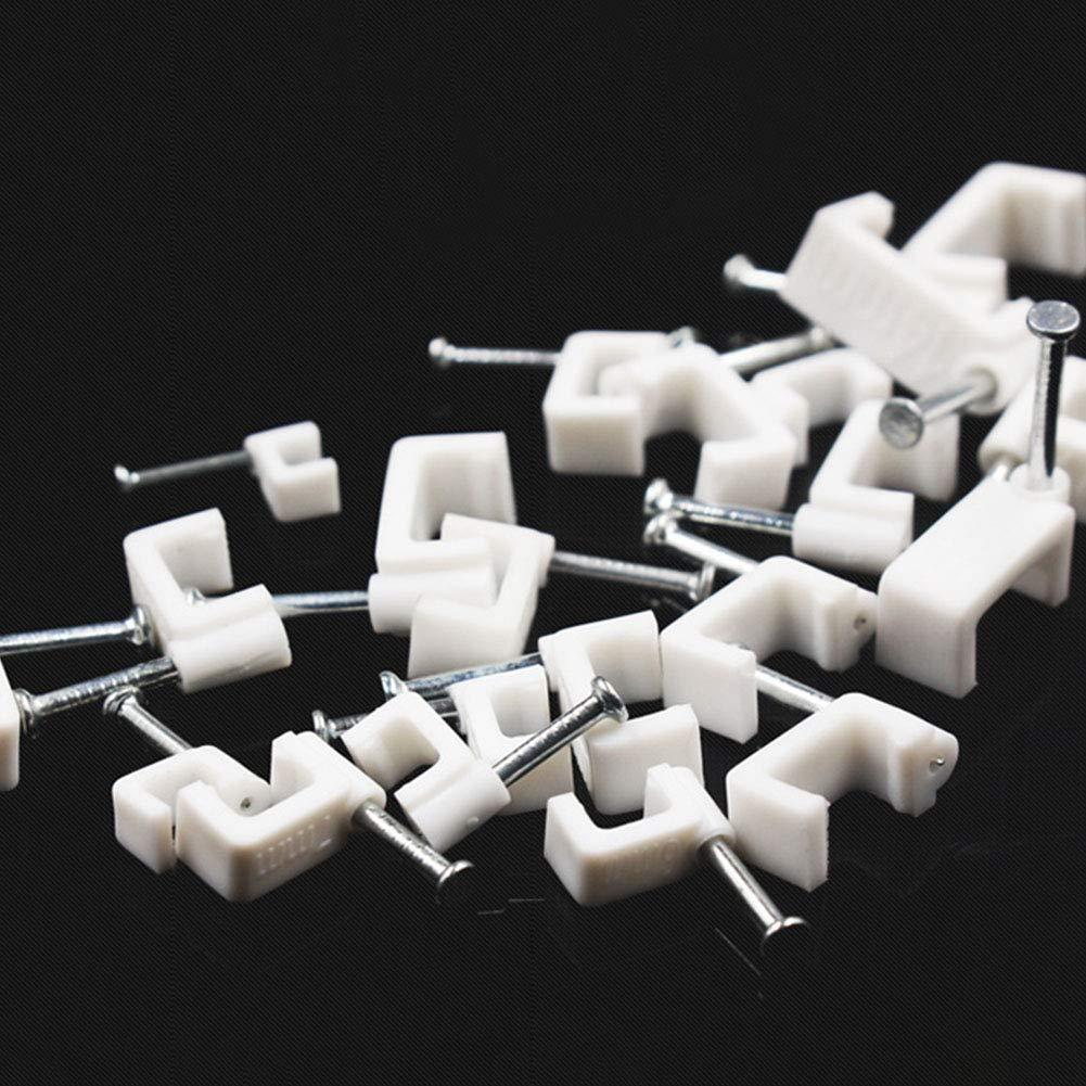 DIY B/üro Drahtkarte Mehrzweck-Wandwanne Klemme 5 mm quadratisch Unterleitung 100 St/ück mit Nagelhalterung Wie abgebildet f/ür Heimbedarf Kabel-Clip