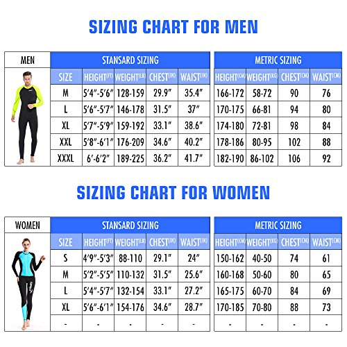 Wetsuit , Copozz Mens Womens Youth Wetsuit - Full Body UV Protection - For Diving Snorkeling Surfing Spearfishing Sport Skin (Black/Blue, X-Large for Women)