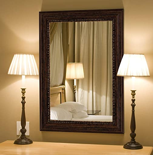 Hitchcock Butterfield Oxford Beaded Transitional Copper Bronze Framed Wall Mirror, 38.25 W x 48.25 H