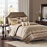 6 Piece Golden Dark Brown Damask Coverlet Set King, Chocolate Brown Golden Pops Floral Leaf Strips Ironwork Motif Themed Quilted Luxurious Colorful Kids Bedding Teen Themed, Polyester