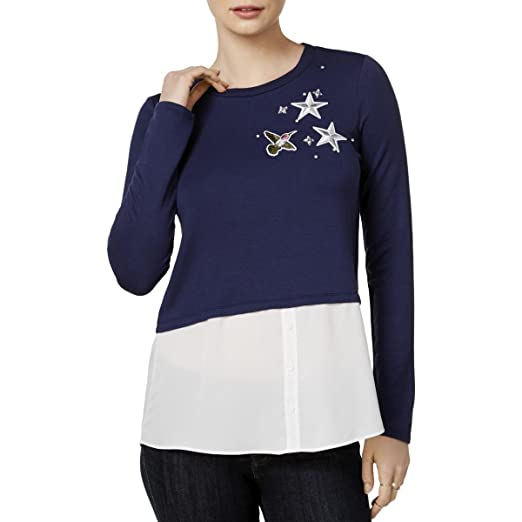Amazon.com  Maison Jules Womens Applique Layered Pullover Top  Clothing 2d36da3968