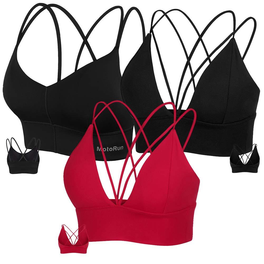 MotoRun Womens Push-up Padded Strappy Sports Bra Cross Back Wirefree Fitness Yoga Top by MotoRun