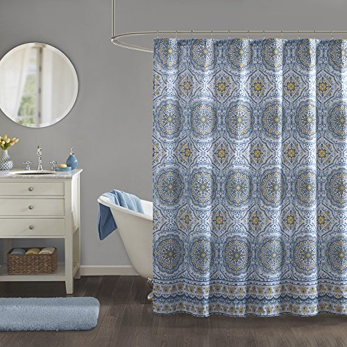 Home Essence - Taya Shower Curtain - Blue and Yellow - Printed Medallions Pattern - 72x72 inches