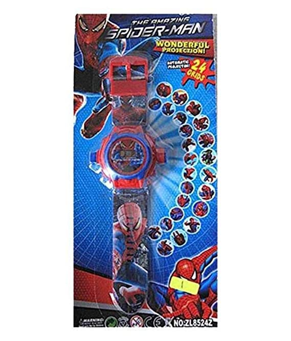 Amazon.com: Spider-man cartoon images Projector Watch Kids Digital Wrist Watch cartoon character watch: Cell Phones & Accessories