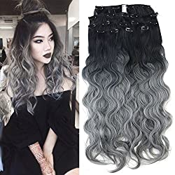 """Neitsi 23"""" Curl Wavy Full Head Clip In/on Synthetic Hair Extensions 8pcs (T-Grey#)"""