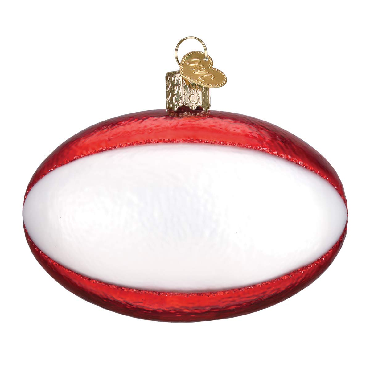Amazon.com: Old World Christmas Rugby Ball Glass Ornament #44128 ...