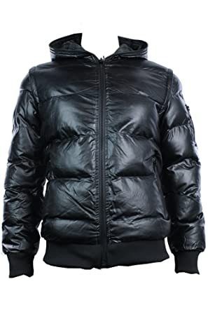 5994fa62d Mens Winter Black Hooded Bomber Jacket Leather Look Puffer Zip ...