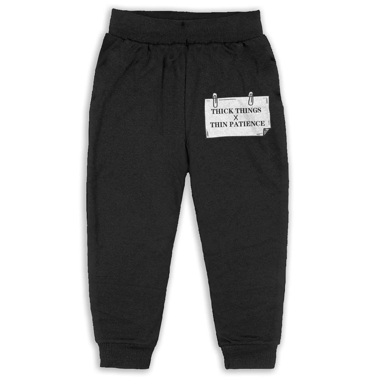 Roli-Land Unisex Boys Thick Thighs Thin Patience Fashion Sleep Sweatpants Black Gift with Pockets Pajamas