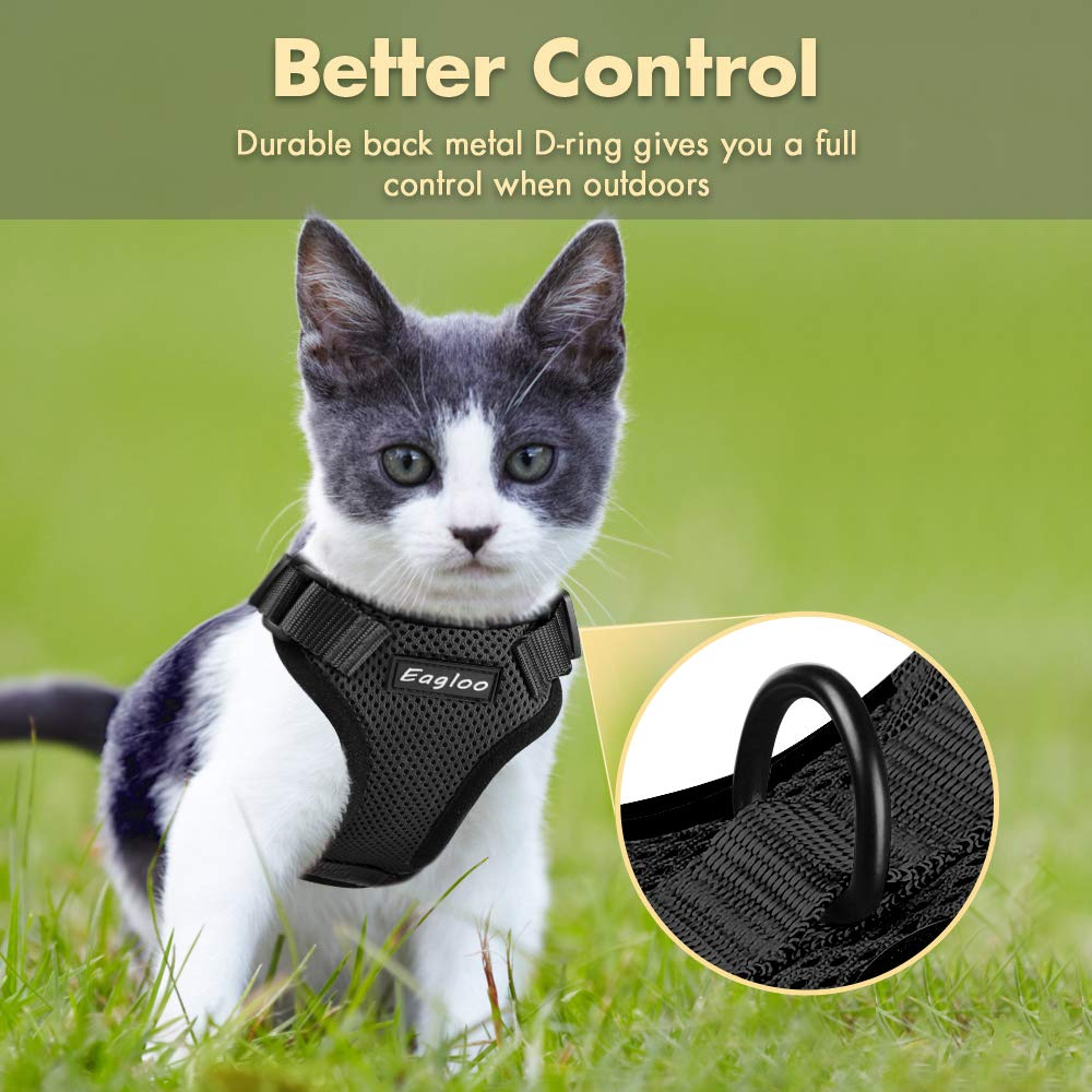 Eagloo Cat Harness Escape Proof Small Cat and Dog Harness Soft Mesh Harness Adjustable Cat Vest Harness with Reflective Strap Metal Clip Cat Walking Jacket Comfort Fit for Pet Kitten Puppy Rabbit