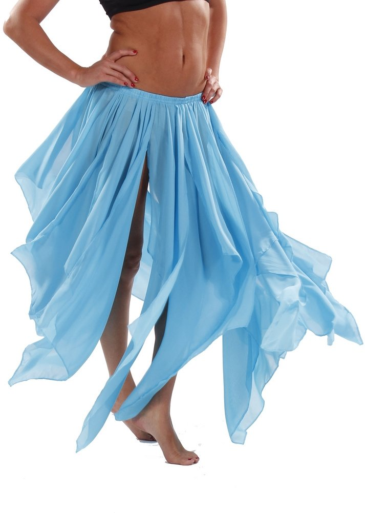 BELLY DANCE ACCESSORIES 13 PANEL CHIFFON SKIRT - TURQUOISE by Miss Belly Dance