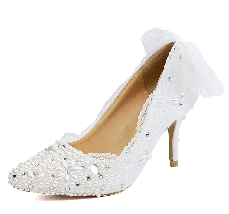 Qiusa Frauen zurück Spitze Bowknot Perlen weiß besonderen Anlass Braut Hochzeit Pumpen UK 3.5 (Farbe   -, Größe   -)