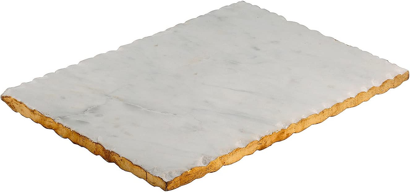 White Marble Thirstystone Old Hollywood Rectangular Serving Tray One Size