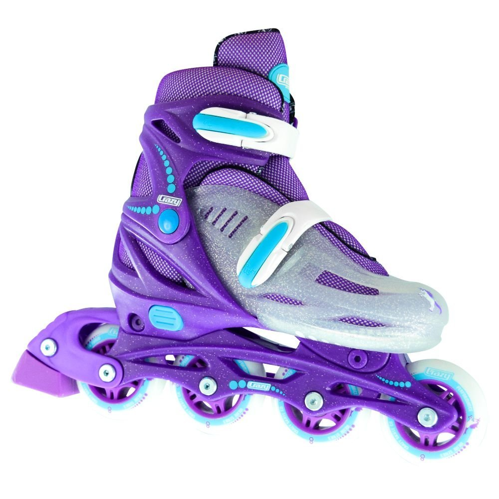 Crazy Skates Adjustable Inline Skates | Adjusts to fit 4 Shoe Sizes | Purple with Sparkles - Model 148