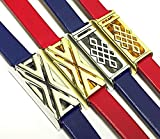 BSI Set 2 Blue And 2 Red Leather Bands For Fitbit Flex Activity Tracker Colorful Straps With 2 Silver And 2 Gold Metal Housings Adjustable Size 5.5 - 7.5''