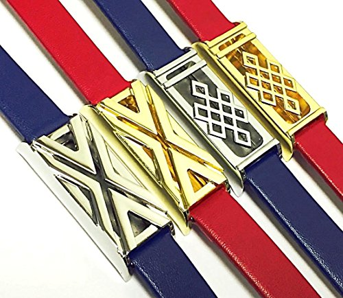 BSI Set 2 Blue And 2 Red Leather Bands For Fitbit Flex Activity Tracker Colorful Straps With 2 Silver And 2 Gold Metal Housings Adjustable Size 5.5 - 7.5'' by PL