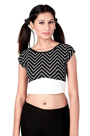 e9403a61a73 Y&K New Fashion Designer Stylish Striped Cap Sleeve Casual Cotton Western  wear Women's/Girls Crop Top (Black & White): Amazon.in: Clothing &  Accessories