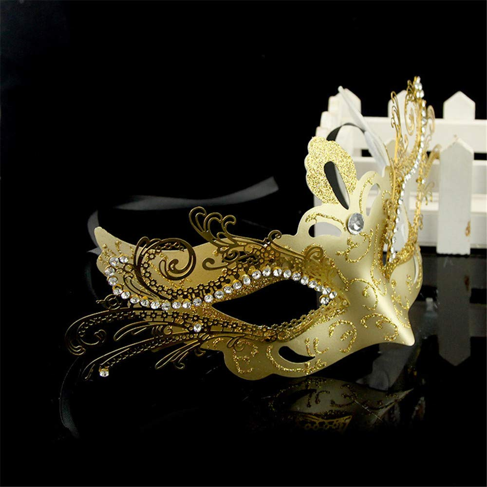 NUOKAI Halloween Maskerade Maske halbe Gesichtsmaske Prinzessin Diamant Venezianische Maske Kupfer Größe, Gold