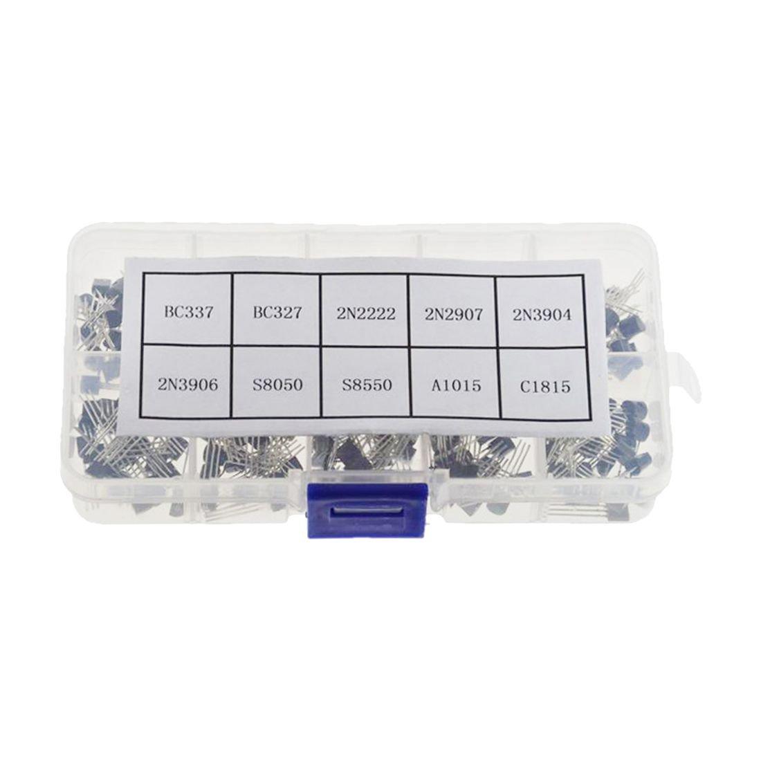 SODIAL(R) TO-92 Transistor Box BC337B / C327 / 2N2907 / S8050 / S8550NPNPNP10 Total 200 130871