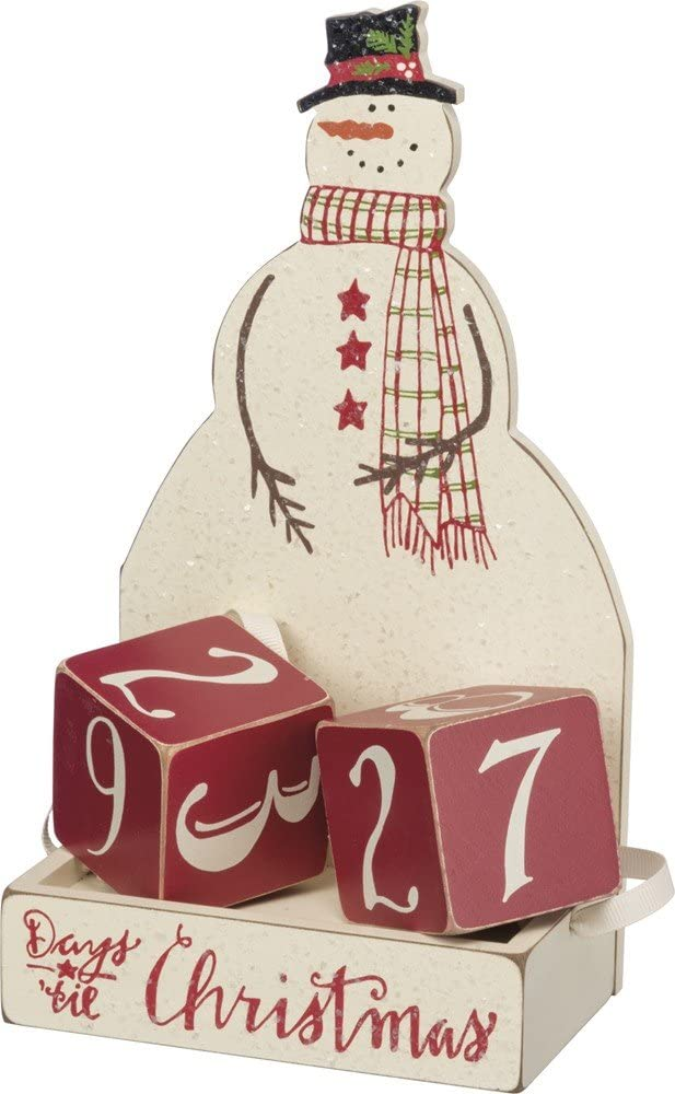 Primitives by Kathy Christmas Countdown Wood Blocks Set, Snowman, 3 Piece