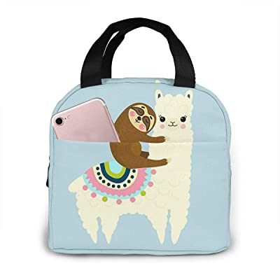 KiuLoam Cute Llama and Sloth Reusable Insulated Lunch Bag for Boys Girls Men Women Lunch Box Tote Bag Food Container for Work Travel Picnic: Kitchen & Dining