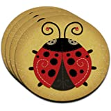 Cute Ladybug MDF Wood Coaster Set of 4
