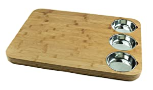 "VERSACHOP Trio, Extra Large 22"" X 16"" Kitchen Cutting Board and Butcher Block made from Totally Natural Organic Moso Bamboo with Three Stainless Steel Bowls"