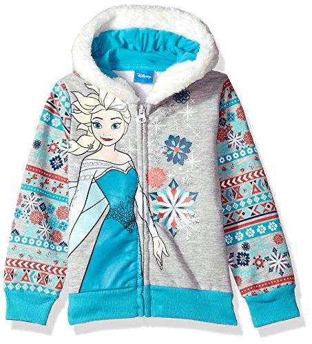 Disney Little Girls' Elsa Frozen Zip up Hoodie, Grey, 6X