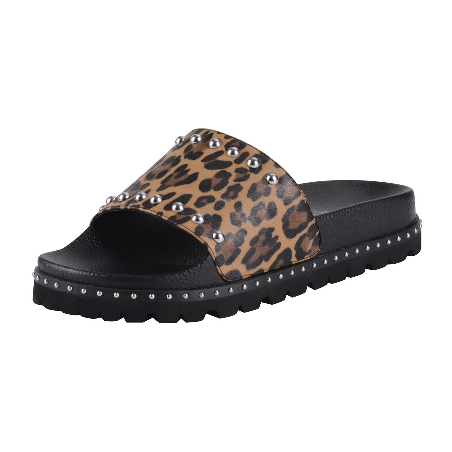 29e88d983f961 ASHOE DESIGN Women's Flat Slide Sandals Comfortable Slip On Footbed Silver  Studs-Leopard Printed