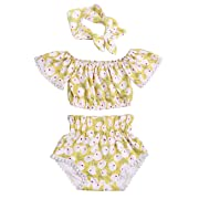 Toddler Baby Girl 6 12 18 24 Months Clothes Floral Ruffle Off Shoulder Tops+Shorts+Headband Summer Outfits Set Yellow 12-18 Months
