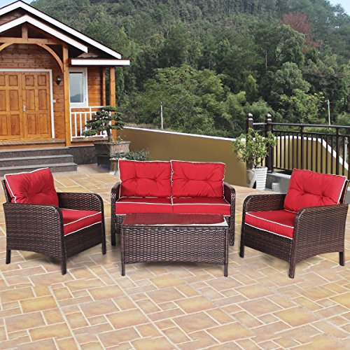 TANGKULA 4 PCS Patio Furniture Outdoor Rattan Wicker Sofa Comfortable Cushioned Seat Garden Lawn Sectional Conversation Set with Glass Top Coffee Table