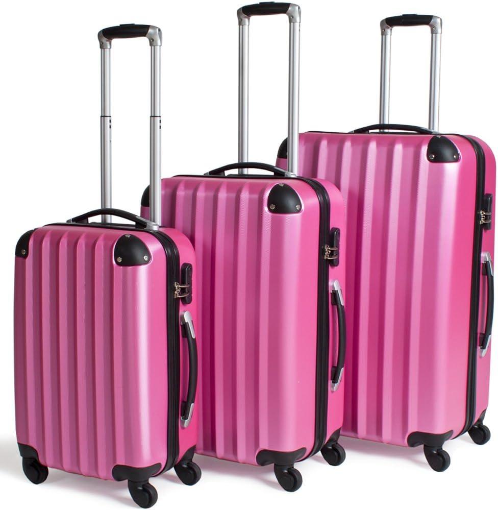 TecTake Set 3 Maletas ABS Juego de Viaje con Ruedas (Rosa)