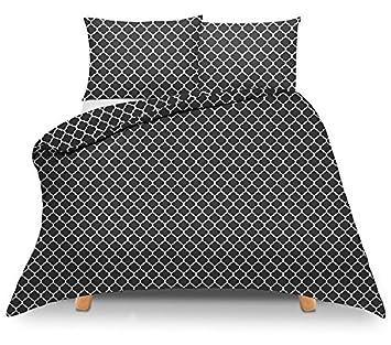 Bsd Baumwolle Bettwäsche 200x220 Schwarz Weiß Marokko Amazonde