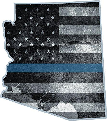 Arizona State Thin Blue Line Decal AZ Tattered American Flag Police Sticker VAR Az Reflector