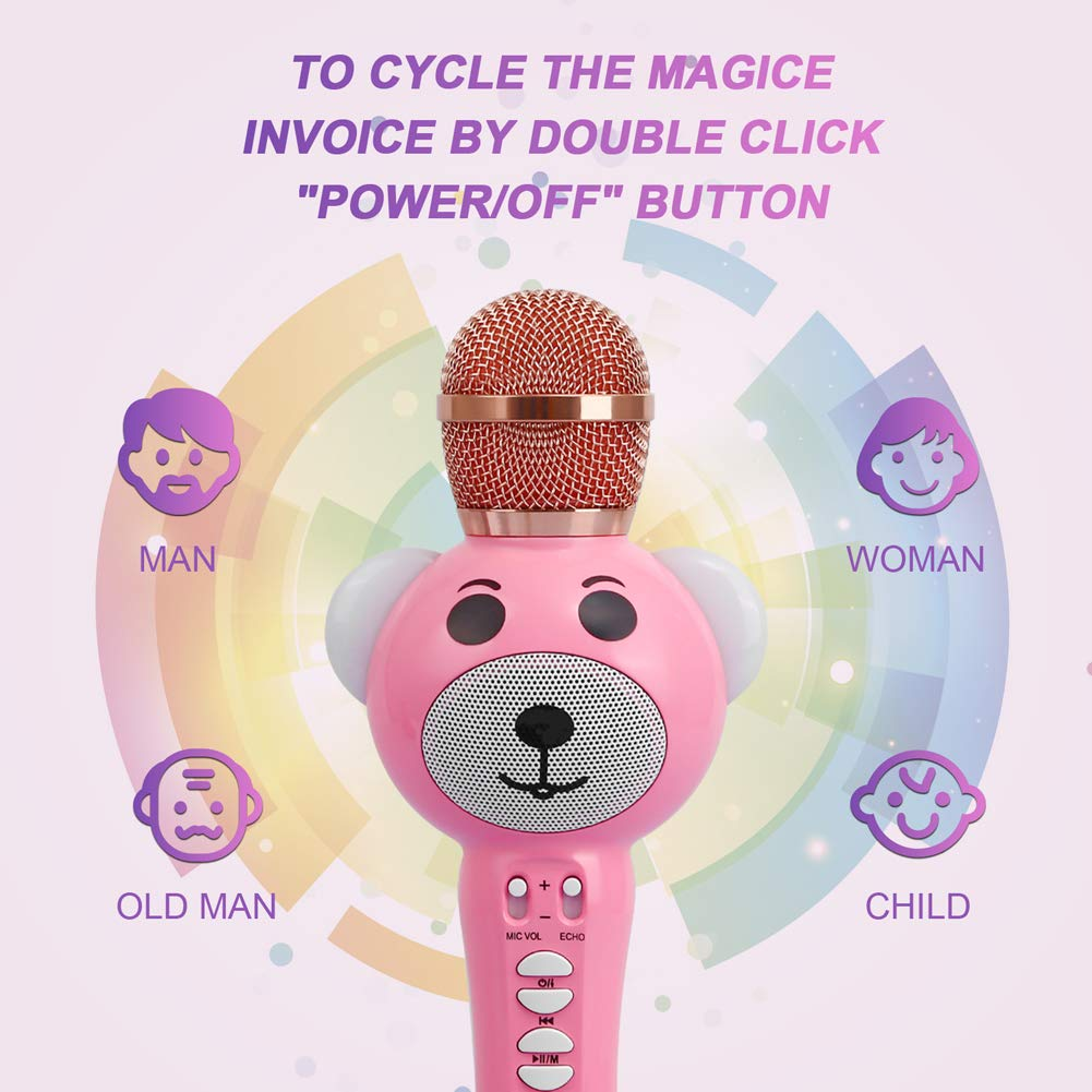 Upgraded 2019 Version Kids Karaoke Microphone with Bluetooth, Magic Voice Changer, and Flashing Multicolored LED Lights(Pink) by Garoma (Image #3)