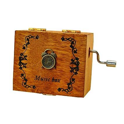 Personalizado Wind Up Caja Musical Smart láser grabado madera caja de música con pequeño movimiento magnético