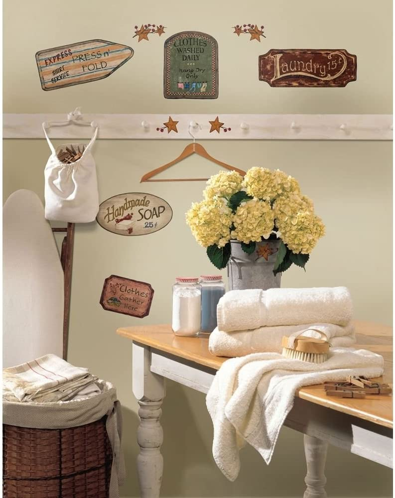 26 New Country Signs & Stars Wall Decals Laundry Bathroom Kitchen Stickers Decor