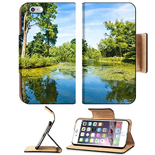 Liili Apple iPhone 6 Plus iPhone 6S Plus Pu Leather Flip Case Lush Green Woodland Park Reflecting in Tranquil Pond Sunshine iPhone6 Plus Image ID - Lake Woodlands Drive