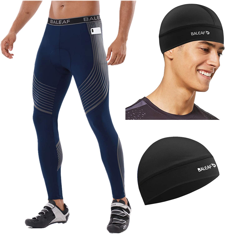 BALEAF Mens Cycling Pants 3D Padded Bike Pants Long Bike Tights Cooling Skull Cap Cycling Running UPF 50+